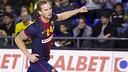 Stranovsky aixeca el braç per celebrar un gol