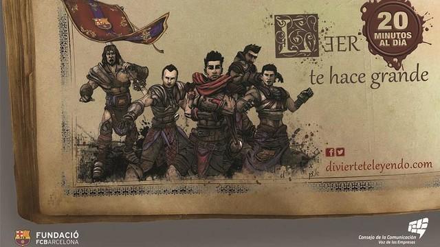Imagen gráfca de la campaña con unos dibujos de diversos jugadores del primer equipo vestidos de guerreros.