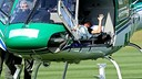 Neymar on the helicopter before leaving the Brazil camp