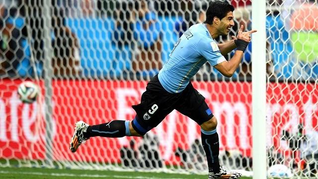 Celebració d'un gol de Luis Suárez amb Uruguai