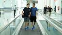 Luis Enrique and Joan Barbarà, on the trip to Huelva. PHOTO: MIGUEL RUIZ-FCB.