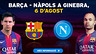 messi and iniesta, with the barcelona and napoli crests