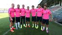 Deulofeu, Rafinha, Masip, Pedro, Sergi Roberto, Marc Bartra and Martin Montoya / PHOTO: Miguel Ruiz