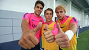 Bartra, Grimaldo and Patric trained on Friday at St George's Park. PHOTO: MIGUEL RUIZ-FCB.