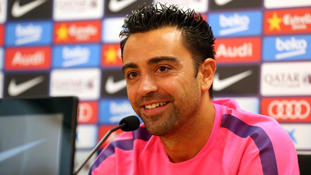 Xavi at the press conference