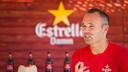 Andrés Iniesta, ce midi lors de l'évènement Estrella Damm / PHOTO: GERMÁN PARGA - FCB