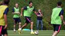 Sergio Busquets durante el entrenamiento de este jueves / FOTO: MIGUEL RUIZ - FCB
