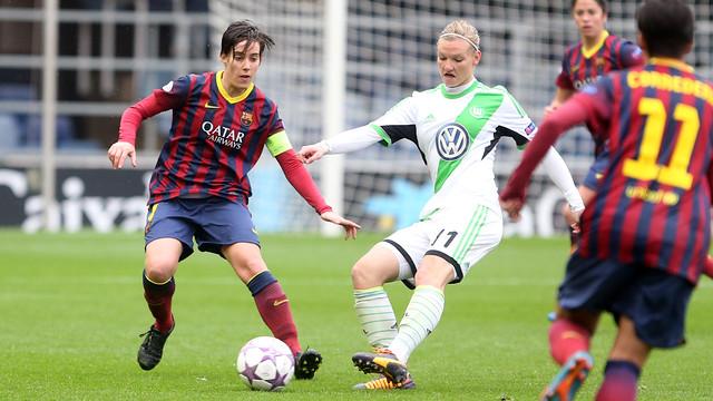 Imatge d'un partit entre el Barça i el Wolfsburg