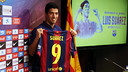 Luis Suárez in the presentaion / PHOTO: MIGUEL RUIZ - FCB