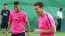 Neymar y Messi, durante el entrenamiento. FOTO: MIGUEL RUIZ - FCB