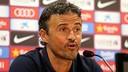 Luis Enrique, pendant une conférence de presse / Photo Miguel Ruiz-FCB