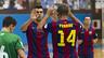Lozano felicitando a Ferrao después de un gol