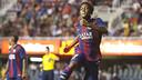 Dongou celebra un gol anotado ante el Sabadell / FOTO: VÍCTOR SALGADO - FCB