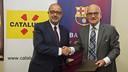 Felip Puig and Carles Vilarrubí attended the signing. PHOTO: V. SALGADO -FCB