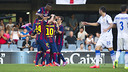 The Barça B team celebrate the first goal against Zaragoza. PHOTO: VÍCTOR SALGADO-FCB.