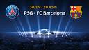 PSG - FC Barcelona, el 30 de setembre