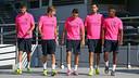 Piqué, Samper, Munir, Busquets and Adama all trained on Wednesday. PHOTO: MIGUEL RUIZ-FCB.