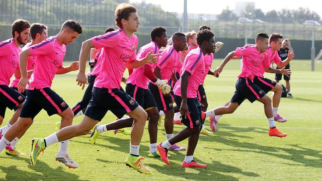 El Barça B, durant un entrenament / FOTO: ARXIU FCB