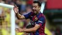 Xavi and Sandro celebrating a goal during the match against Villarreal / FOTO: MIGUEL RUIZ-FCB