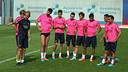 Alguns dels titulars contra l'APOEL, en l'entrenament d'aquest dijous. FOTO: MIGUEL RUIZ-FCB.