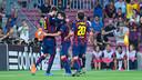 El equipo celebra el único gol del partido contra el APOEL / FOTO: MIGUEL RUIZ-FCB