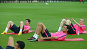 Messi, Sergio and Mathieu all trained this morning / PHOTO: MIGUEL RUIZ - FCB