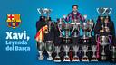 Xavi con todos los títulos que ha ganado con el FC Barcelona