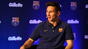 Messi, at the presentation of the new deal between Gillette and FC Barcelona. PHOTO: MIGUEL RUIZ-FCB.
