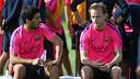 Luis Suárez et Rakitic, mercredi / PHOTO: MIGUEL RUIZ-FCB