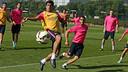 Luis Suárez pendant l'entrainement de ce matin / PHOTO: MIGUEL RUIZ - FCB