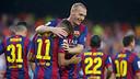 Neymar and Mathieu celebrate a goal / PHOTO: ARCHIVE FCB