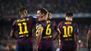 Neymar Jr, Xavi et Messi, les trois buteurs / PHOTO: VÍCTOR SALGADO-FCB