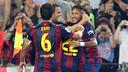 Els jugadors del Barça celebren un dels tres gols contra l'Eibar / FOTO: MIGUEL RUIZ - FCB