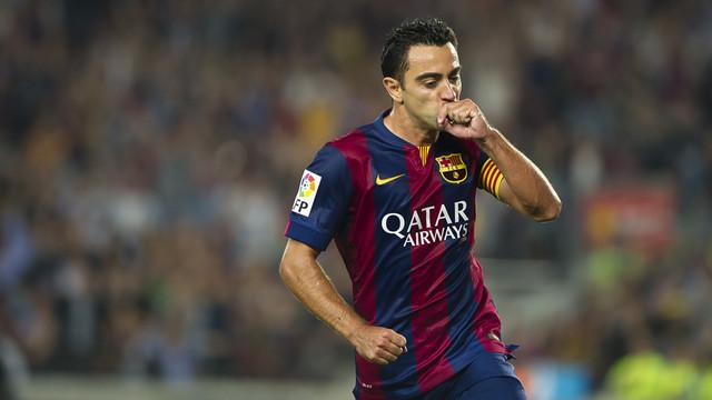 Xavi after opening the scoring against Eibar at Camp Nou / MIGUEL RUIZ: FCB