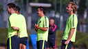 Xavi, Messi and Rakitic all trained on Tuesday morning. PHOTO: MIGUEL RUIZ-FCB.