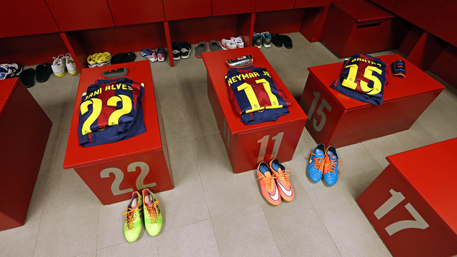Vestidor del Barça. FOTO: MIGUEL RUIZ-FCB.