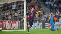 Leo Messi contento después de marcar su gol contra el Ajax