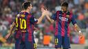 Leo Messi et Neymar Jr fêtent un but / PHOTO: GERMÁN PARGA - FCB