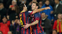 Messi celebra el seu gol de falta contra l'Almeria amb Xavi / FOTO: MIGUEL RUIZ - FCB