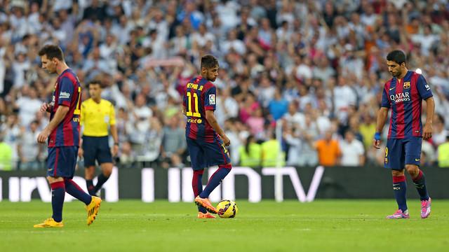 Messi, Neymar i Suárez, capcots al Bernabéu / FOTO: MIGUEL RUIZ-FCB
