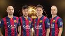 Mascherano, Neymar, Messi et Iniesta, candidats au FIFA Ballon d'Or 2014. PHOTO: Fotomuntatge FCB.