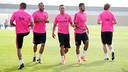 The Brazilian connection: Alves, Adriano and Neymar / PHOTO: MIGUEL RUIZ - FCB