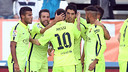 L'équipe après le but d'Alba / PHOTO: MIGUEL RUIZ-FCB