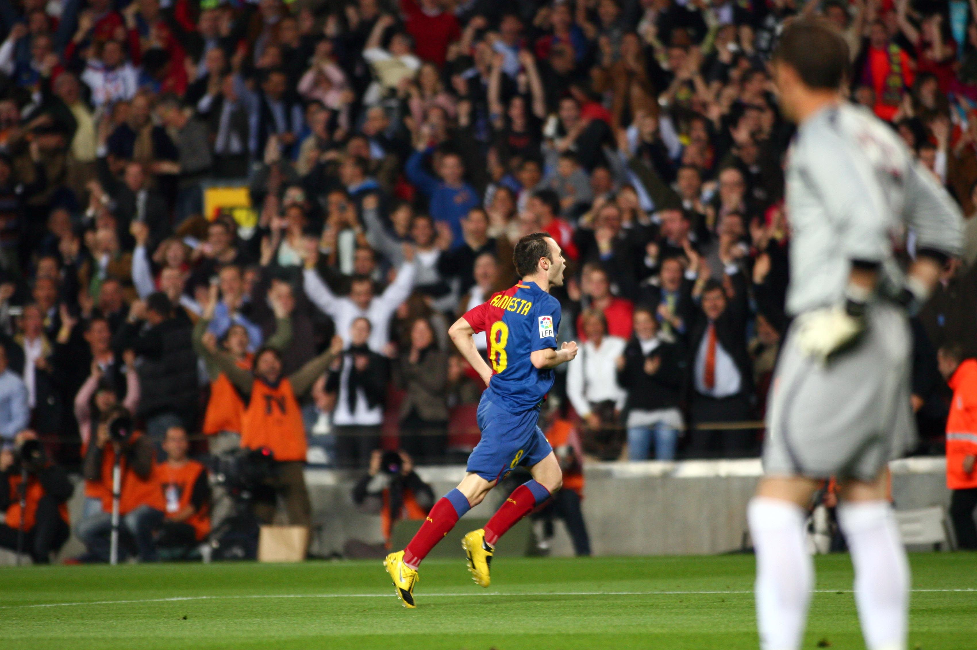 Iniesta celebrating against Sevilla