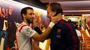 Pareja et Rakitic, après le match / PHOTO : MIGUEL RUIZ - FCB
