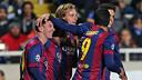 Messi, après un but. PHOTO: MIGUEL RUIZ-FCB.