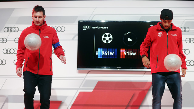 Neymar and Messi has great fun with Audi's exercises / PHOTO: MIGUEL RUIZ - FCB