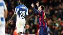 Messi scored a hat trick and reached 400 career goals in Barça's derby win over Espanyol. PHOTO: MIGUEL RUIZ-FCB.
