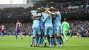 Los jugadores del Manchester City celebrando uno de los goles / FOTO: Manchester City