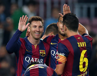 Messi celebra um dos gols marcados ao Córdoba